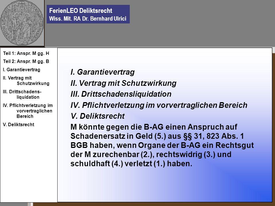 FerienLEO Deliktsrecht Wiss. Mit. RA Dr. Bernhard Ulrici I. Garantievertrag II. Vertrag mit Schutzwirkung III. Drittschadensliquidation IV. Pflichtver