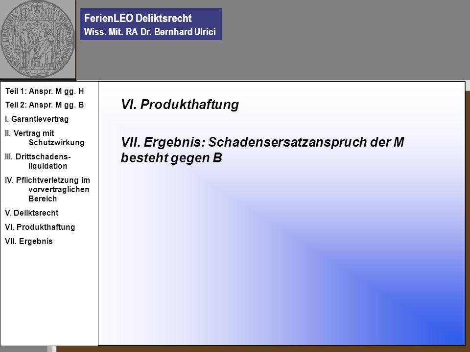 FerienLEO Deliktsrecht Wiss. Mit. RA Dr. Bernhard Ulrici VI. Produkthaftung VII. Ergebnis: Schadensersatzanspruch der M besteht gegen B Teil 1: Anspr.