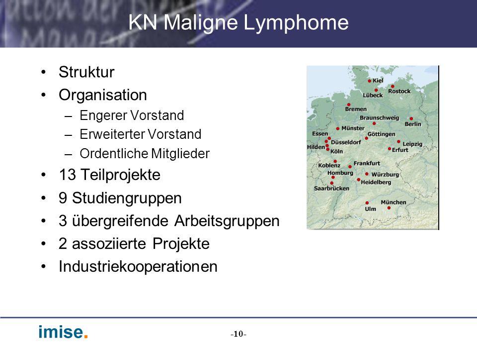 -10- KN Maligne Lymphome Struktur Organisation –Engerer Vorstand –Erweiterter Vorstand –Ordentliche Mitglieder 13 Teilprojekte 9 Studiengruppen 3 über