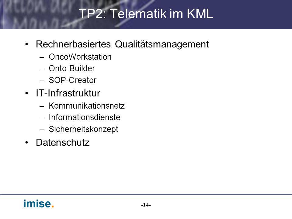 -14- TP2: Telematik im KML Rechnerbasiertes Qualitätsmanagement –OncoWorkstation –Onto-Builder –SOP-Creator IT-Infrastruktur –Kommunikationsnetz –Info
