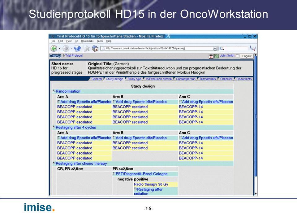 -16- Studienprotokoll HD15 in der OncoWorkstation