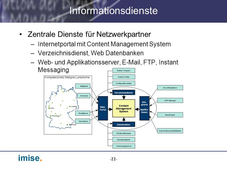 -22- Informationsdienste Zentrale Dienste für Netzwerkpartner –Internetportal mit Content Management System –Verzeichnisdienst, Web Datenbanken –Web-