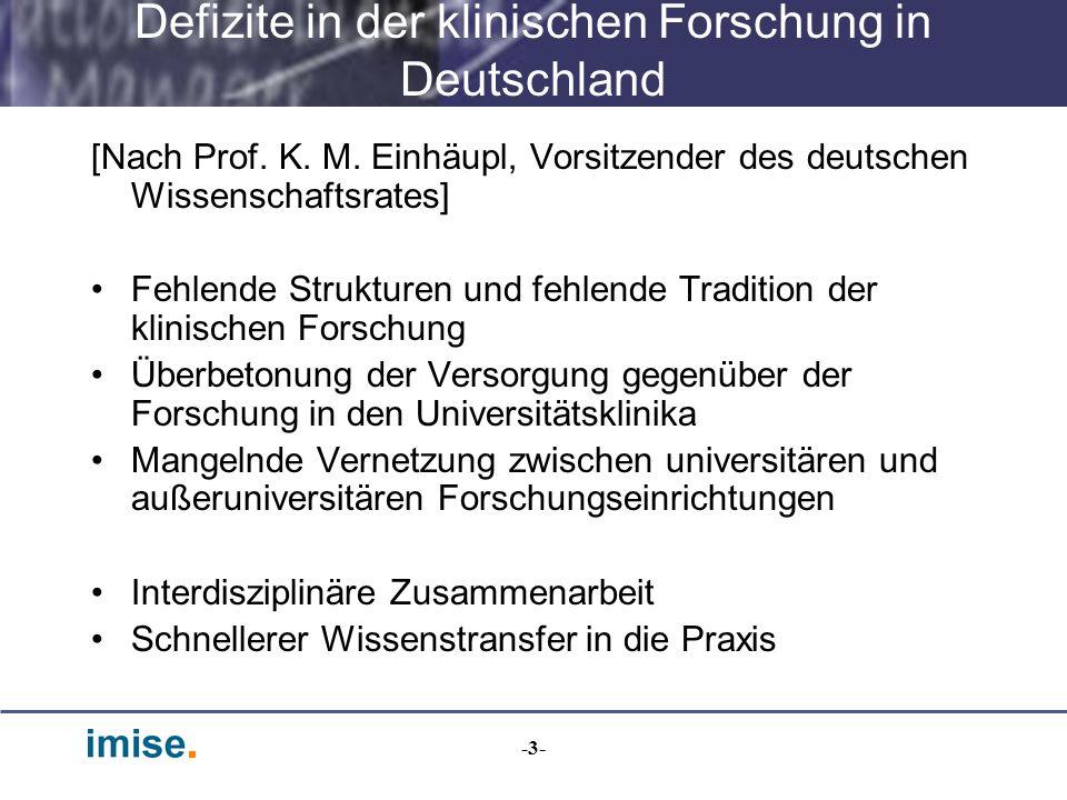 -3- Defizite in der klinischen Forschung in Deutschland [Nach Prof. K. M. Einhäupl, Vorsitzender des deutschen Wissenschaftsrates] Fehlende Strukturen