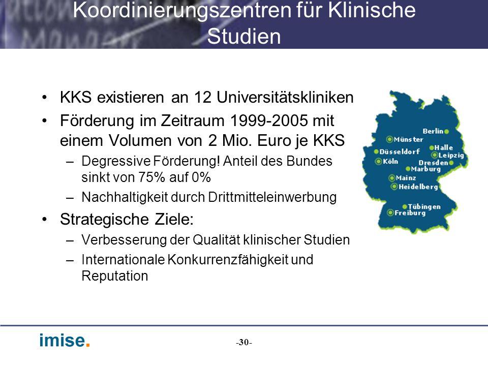 -30- Koordinierungszentren für Klinische Studien KKS existieren an 12 Universitätskliniken Förderung im Zeitraum 1999-2005 mit einem Volumen von 2 Mio