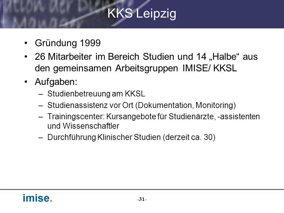 -31- KKS Leipzig Gründung 1999 26 Mitarbeiter im Bereich Studien und 14 Halbe aus den gemeinsamen Arbeitsgruppen IMISE/ KKSL Aufgaben: –Studienbetreuu