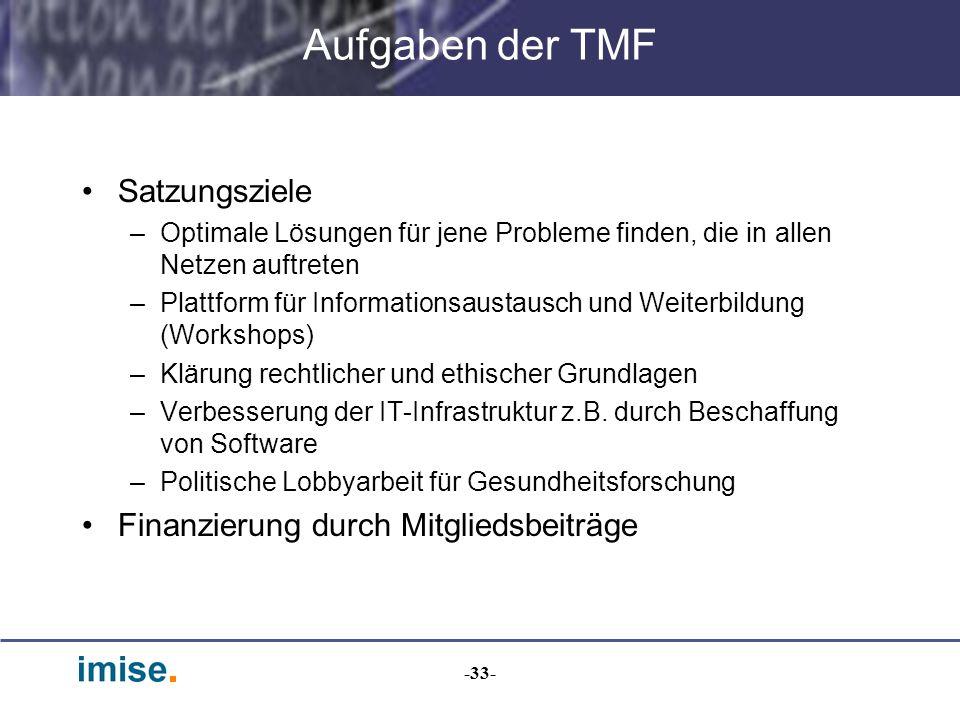 -33- Aufgaben der TMF Satzungsziele –Optimale Lösungen für jene Probleme finden, die in allen Netzen auftreten –Plattform für Informationsaustausch un