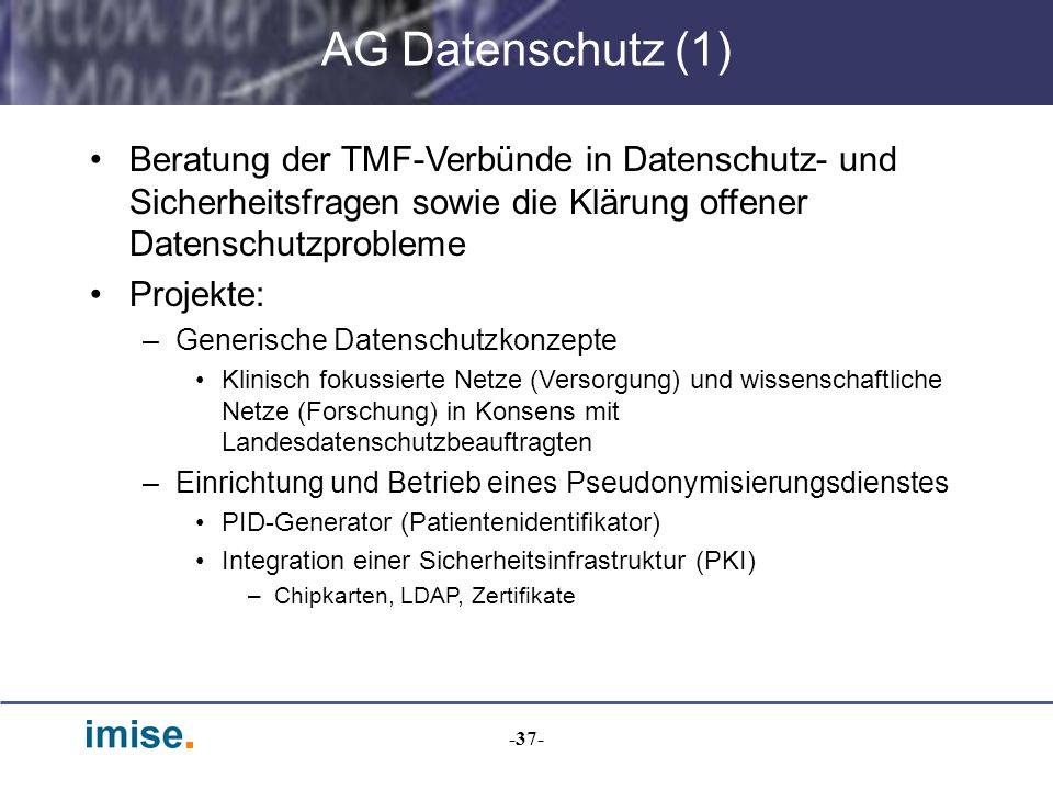 -37- AG Datenschutz (1) Beratung der TMF-Verbünde in Datenschutz- und Sicherheitsfragen sowie die Klärung offener Datenschutzprobleme Projekte: –Gener