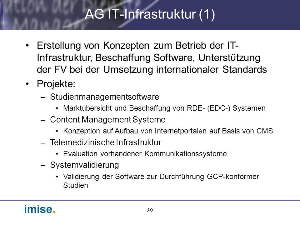 -39- AG IT-Infrastruktur (1) Erstellung von Konzepten zum Betrieb der IT- Infrastruktur, Beschaffung Software, Unterstützung der FV bei der Umsetzung