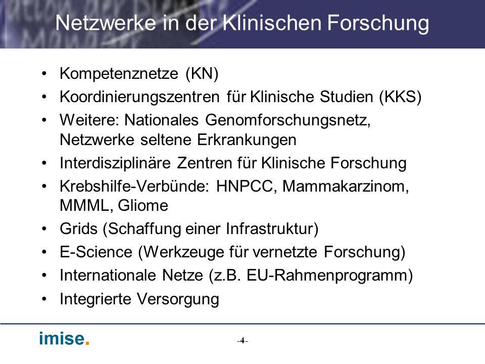 -4- Netzwerke in der Klinischen Forschung Kompetenznetze (KN) Koordinierungszentren für Klinische Studien (KKS) Weitere: Nationales Genomforschungsnet