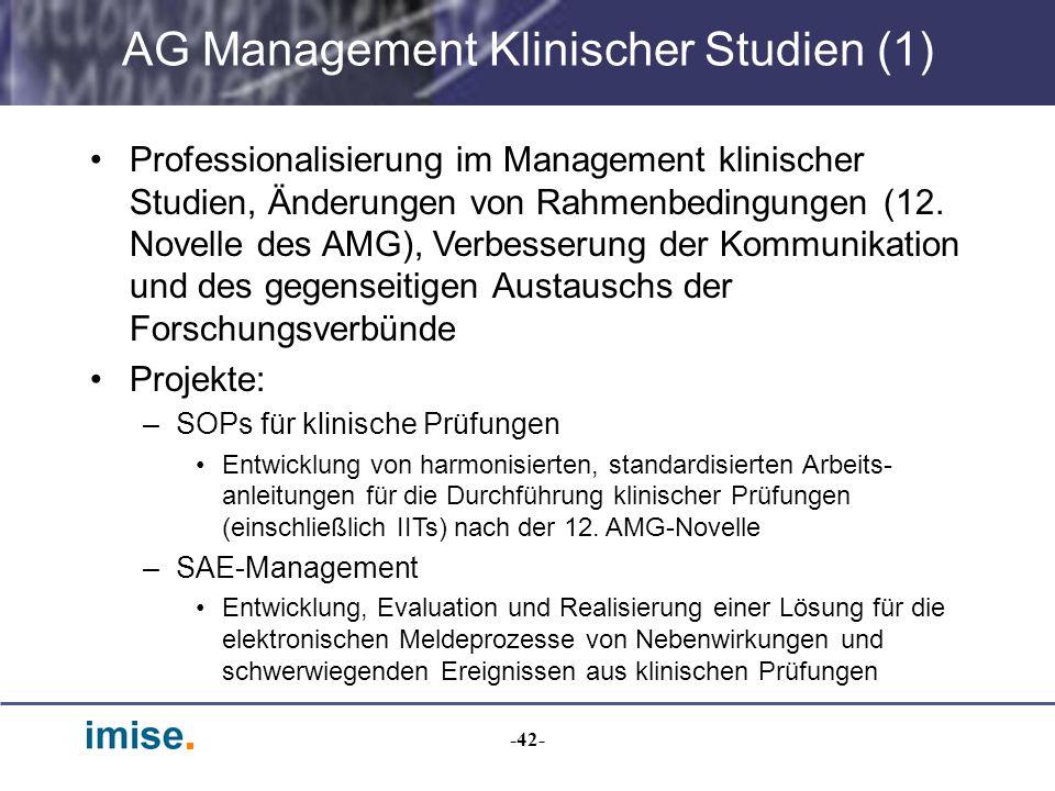 -42- AG Management Klinischer Studien (1) Professionalisierung im Management klinischer Studien, Änderungen von Rahmenbedingungen (12. Novelle des AMG
