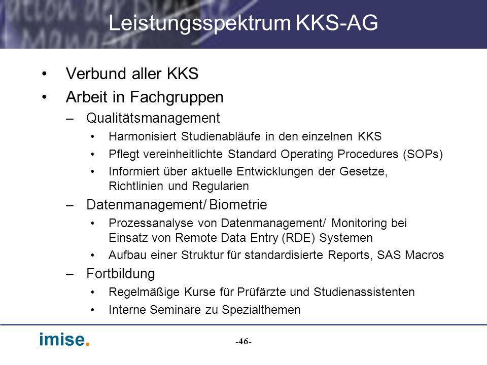 -46- Leistungsspektrum KKS-AG Verbund aller KKS Arbeit in Fachgruppen –Qualitätsmanagement Harmonisiert Studienabläufe in den einzelnen KKS Pflegt ver