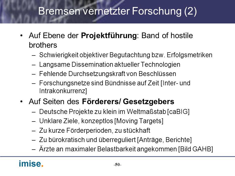 -50- Bremsen vernetzter Forschung (2) Auf Ebene der Projektführung: Band of hostile brothers –Schwierigkeit objektiver Begutachtung bzw. Erfolgsmetrik