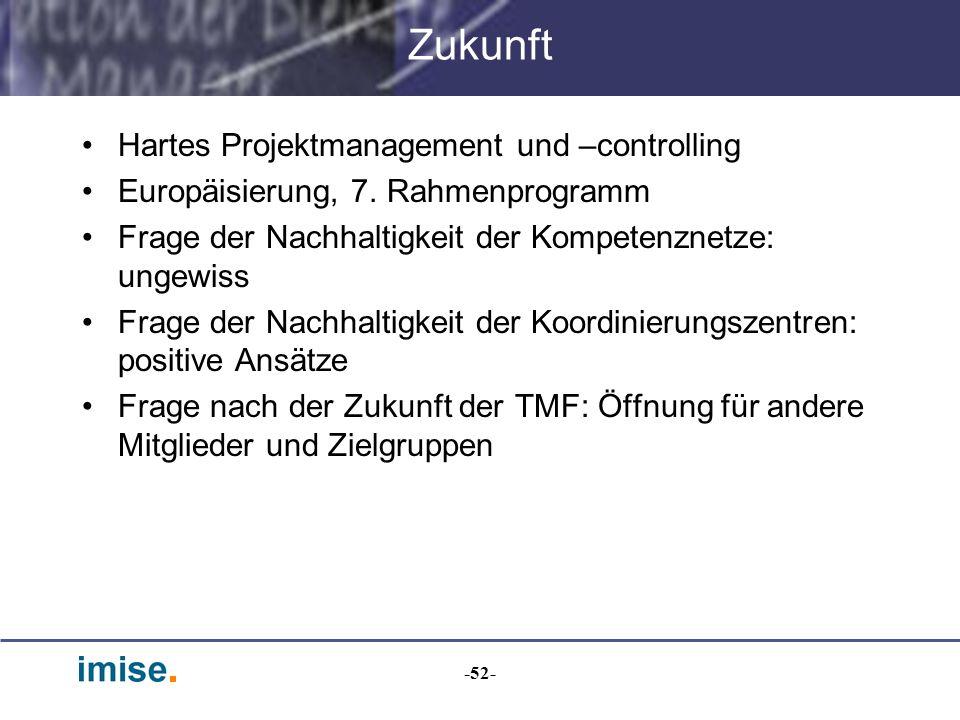 -52- Zukunft Hartes Projektmanagement und –controlling Europäisierung, 7. Rahmenprogramm Frage der Nachhaltigkeit der Kompetenznetze: ungewiss Frage d