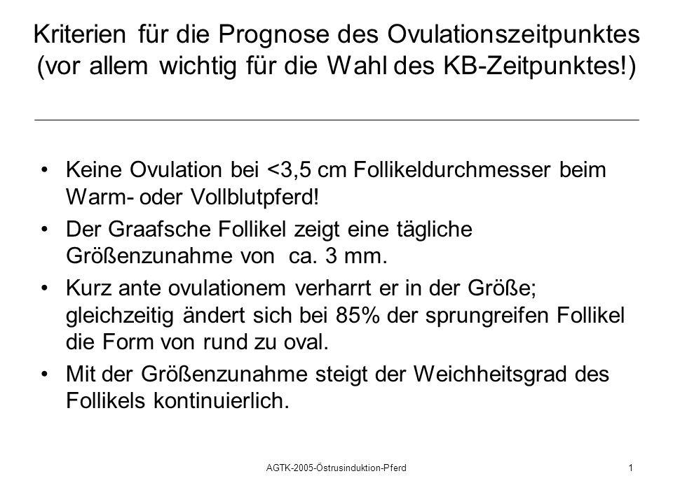 AGTK-2005-Östrusinduktion-Pferd1 Kriterien für die Prognose des Ovulationszeitpunktes (vor allem wichtig für die Wahl des KB-Zeitpunktes!) Keine Ovula