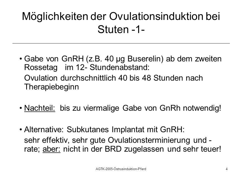 AGTK-2005-Östrusinduktion-Pferd4 Möglichkeiten der Ovulationsinduktion bei Stuten -1- Gabe von GnRH (z.B. 40 µg Buserelin) ab dem zweiten Rossetag im