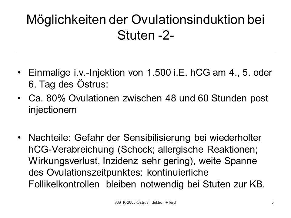 AGTK-2005-Östrusinduktion-Pferd6 Möglichkeiten der Ovulationsinduktion bei Stuten -3- Zyklusblockade mit Gestagenen : tägliche orale Gabe von 20 mg Altrenogest (Regumate®) für die Dauer von 15 Tagen anschließend einmalige Injektion von PGF2alpha 1.500 i.E.