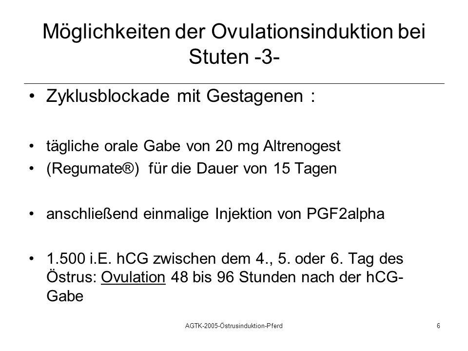 AGTK-2005-Östrusinduktion-Pferd6 Möglichkeiten der Ovulationsinduktion bei Stuten -3- Zyklusblockade mit Gestagenen : tägliche orale Gabe von 20 mg Al