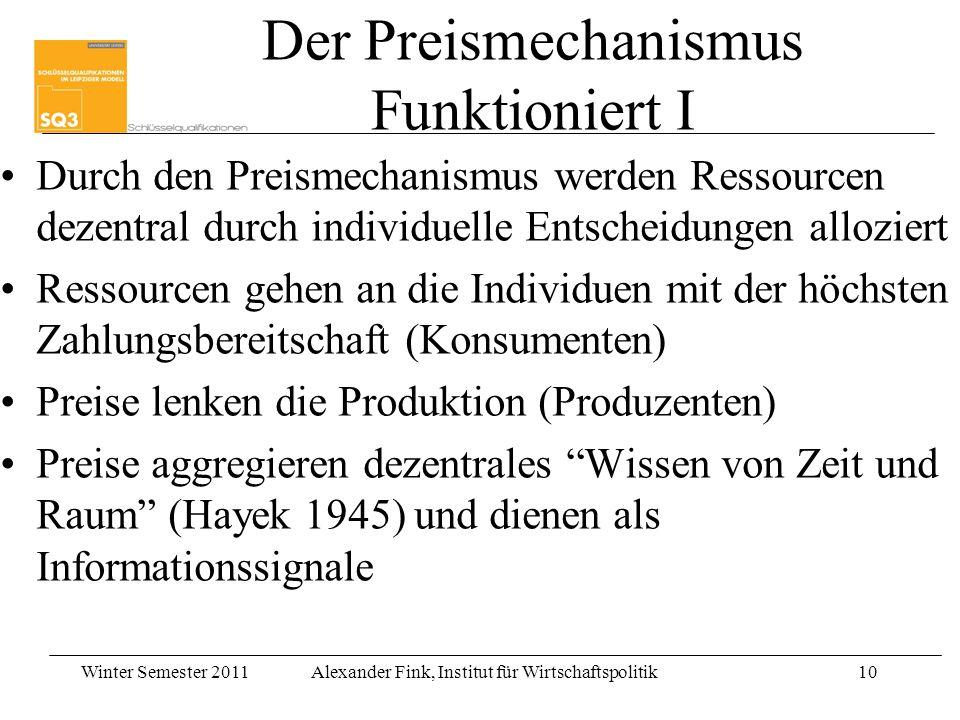 Winter Semester 2011Alexander Fink, Institut für Wirtschaftspolitik10 Der Preismechanismus Funktioniert I Durch den Preismechanismus werden Ressourcen