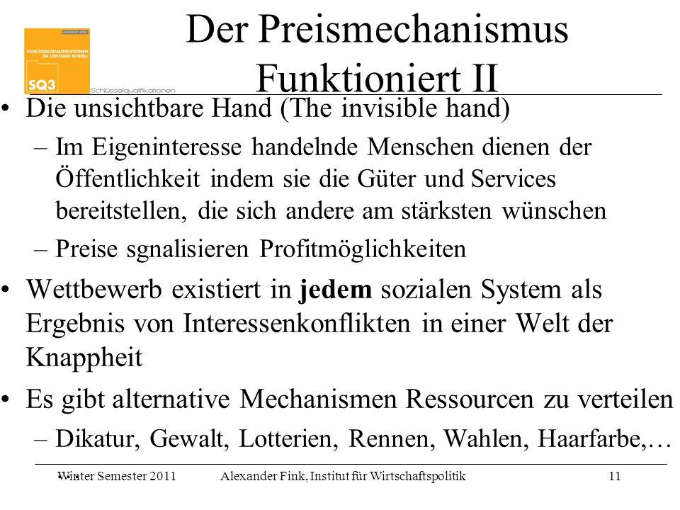 Winter Semester 2011Alexander Fink, Institut für Wirtschaftspolitik11 Der Preismechanismus Funktioniert II Die unsichtbare Hand (The invisible hand) –