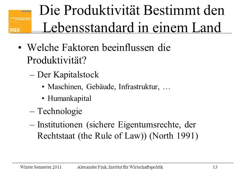 Winter Semester 2011Alexander Fink, Institut für Wirtschaftspolitik13 Die Produktivität Bestimmt den Lebensstandard in einem Land Welche Faktoren beei