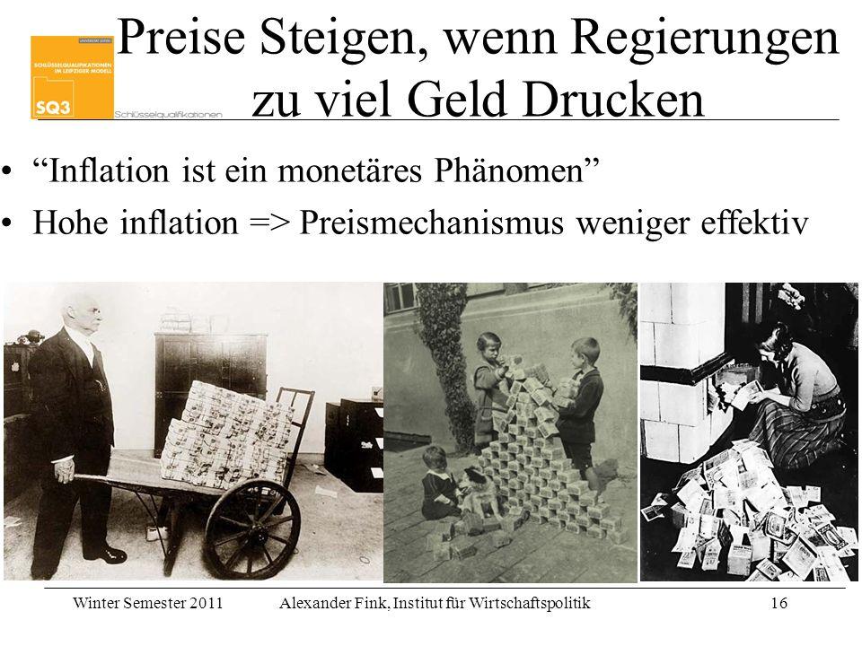 Winter Semester 2011Alexander Fink, Institut für Wirtschaftspolitik16 Preise Steigen, wenn Regierungen zu viel Geld Drucken Inflation ist ein monetäre