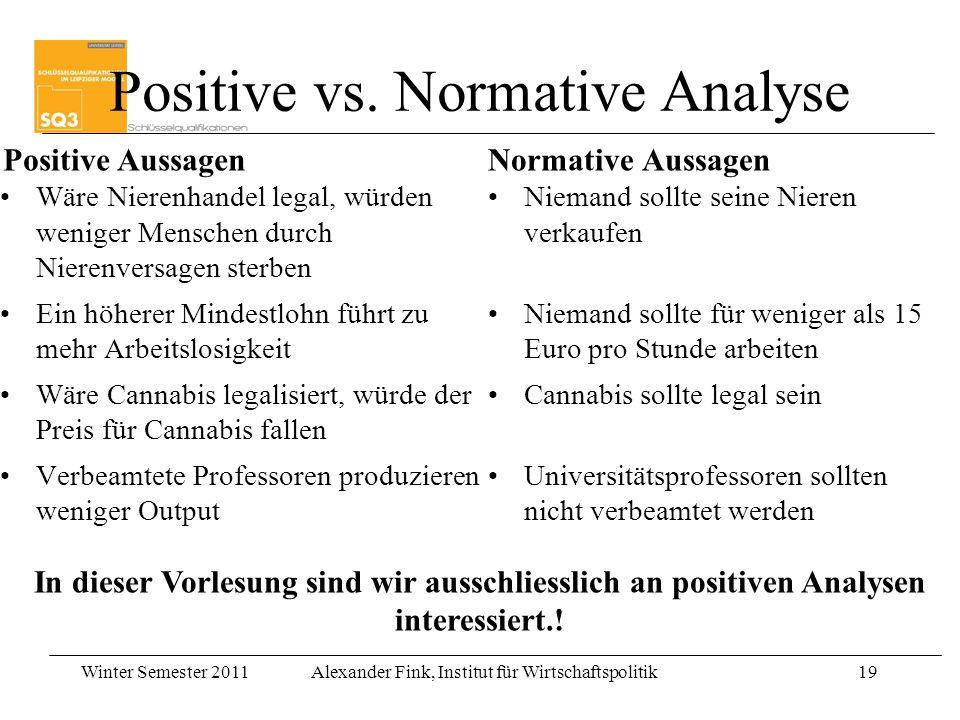 Winter Semester 2011Alexander Fink, Institut für Wirtschaftspolitik19 Positive vs. Normative Analyse Positive Aussagen Wäre Nierenhandel legal, würden