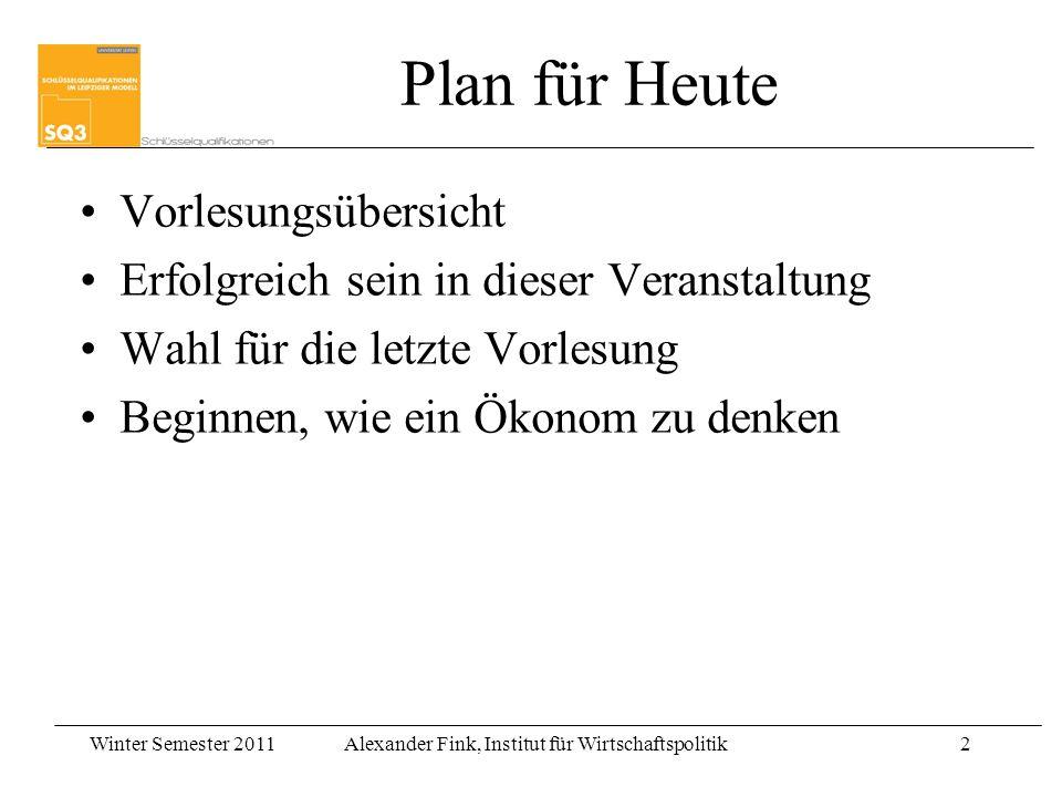 Winter Semester 2011Alexander Fink, Institut für Wirtschaftspolitik2 Plan für Heute Vorlesungsübersicht Erfolgreich sein in dieser Veranstaltung Wahl