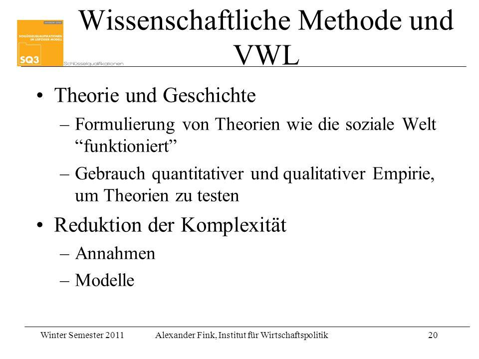 Winter Semester 2011Alexander Fink, Institut für Wirtschaftspolitik20 Wissenschaftliche Methode und VWL Theorie und Geschichte –Formulierung von Theor