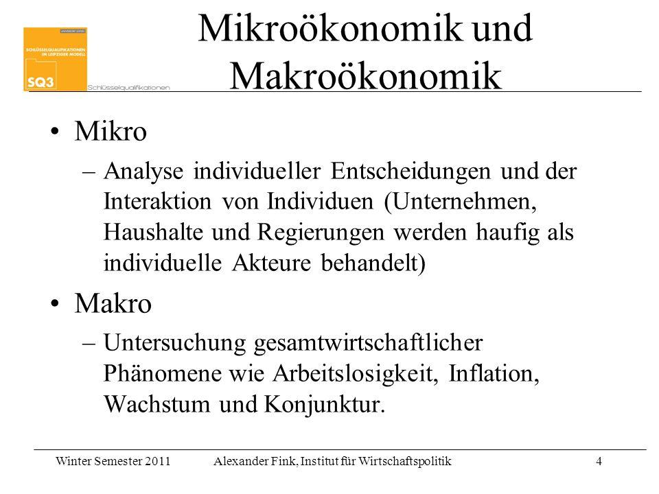 Winter Semester 2011Alexander Fink, Institut für Wirtschaftspolitik4 Mikroökonomik und Makroökonomik Mikro –Analyse individueller Entscheidungen und d