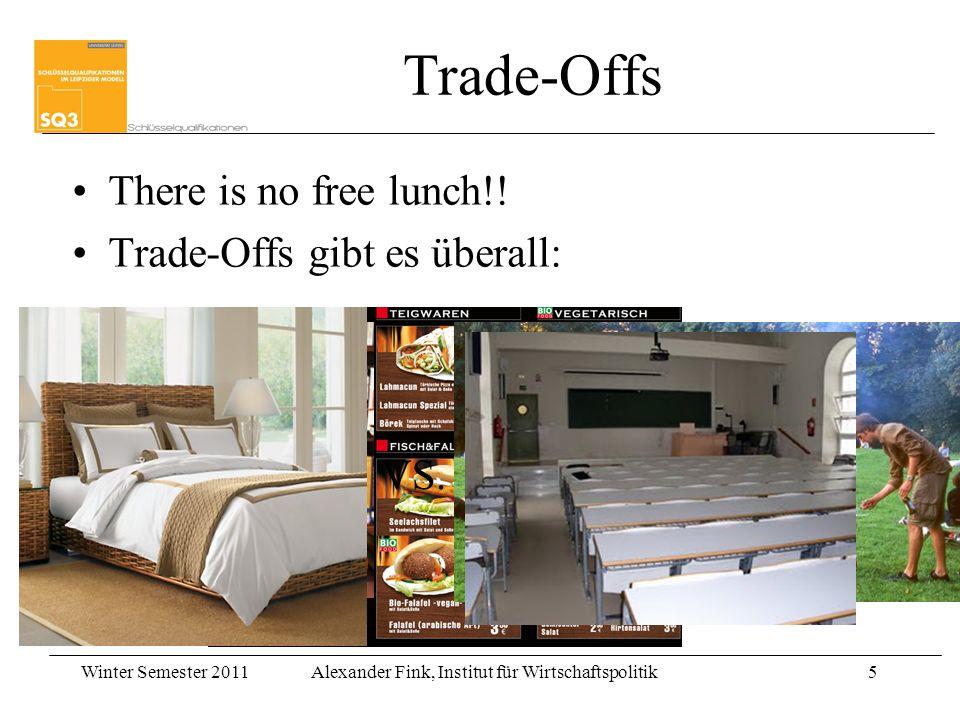 Winter Semester 2011Alexander Fink, Institut für Wirtschaftspolitik5 Trade-Offs There is no free lunch!! Trade-Offs gibt es überall: VS.