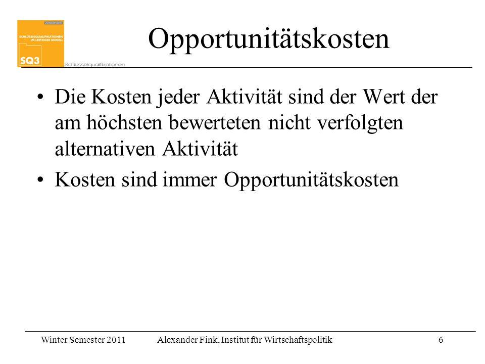 Winter Semester 2011Alexander Fink, Institut für Wirtschaftspolitik6 Opportunitätskosten Die Kosten jeder Aktivität sind der Wert der am höchsten bewe