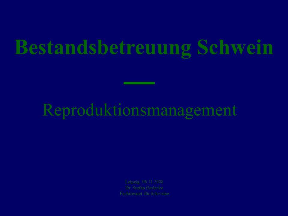 Bestandsbetreuung Schwein Reproduktionsmanagement Leipzig, 06.11.2008 Dr. Stefan Gedecke Fachtierarzt für Schweine