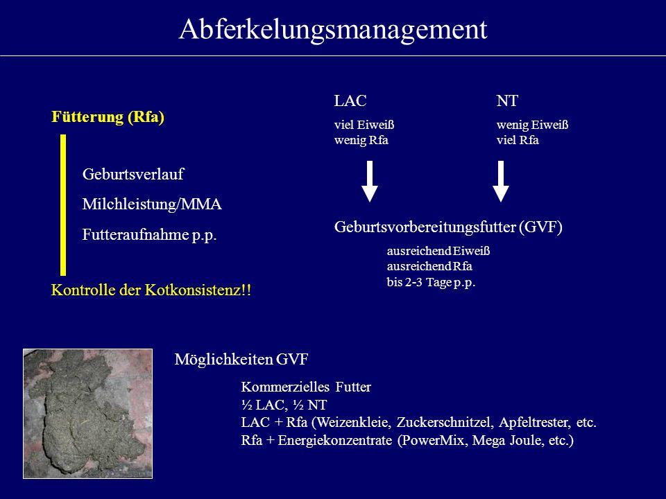 Abferkelungsmanagement Fütterung (Rfa) Geburtsverlauf Milchleistung/MMA Futteraufnahme p.p. Kontrolle der Kotkonsistenz!! Geburtsvorbereitungsfutter (