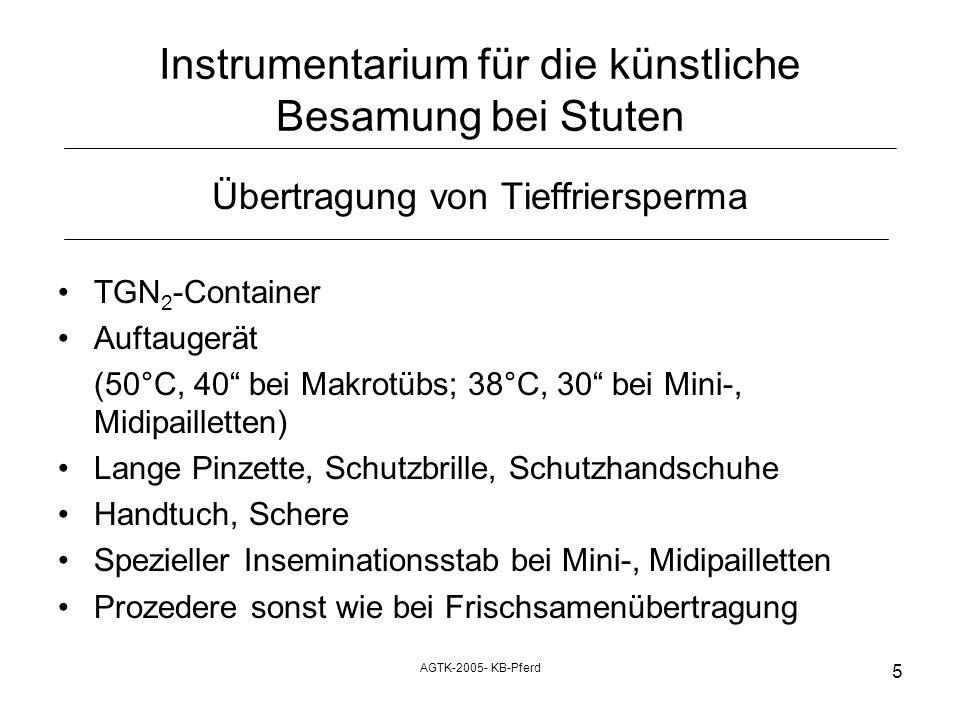 AGTK-2005- KB-Pferd 5 Instrumentarium für die künstliche Besamung bei Stuten Übertragung von Tieffriersperma TGN 2 -Container Auftaugerät (50°C, 40 be