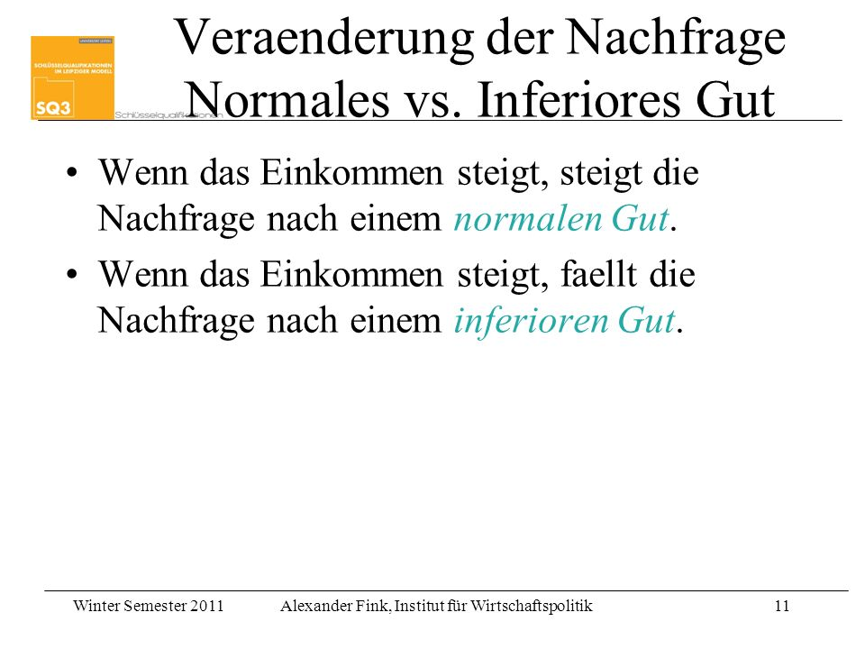 Winter Semester 2011Alexander Fink, Institut für Wirtschaftspolitik11 Veraenderung der Nachfrage Normales vs. Inferiores Gut Wenn das Einkommen steigt