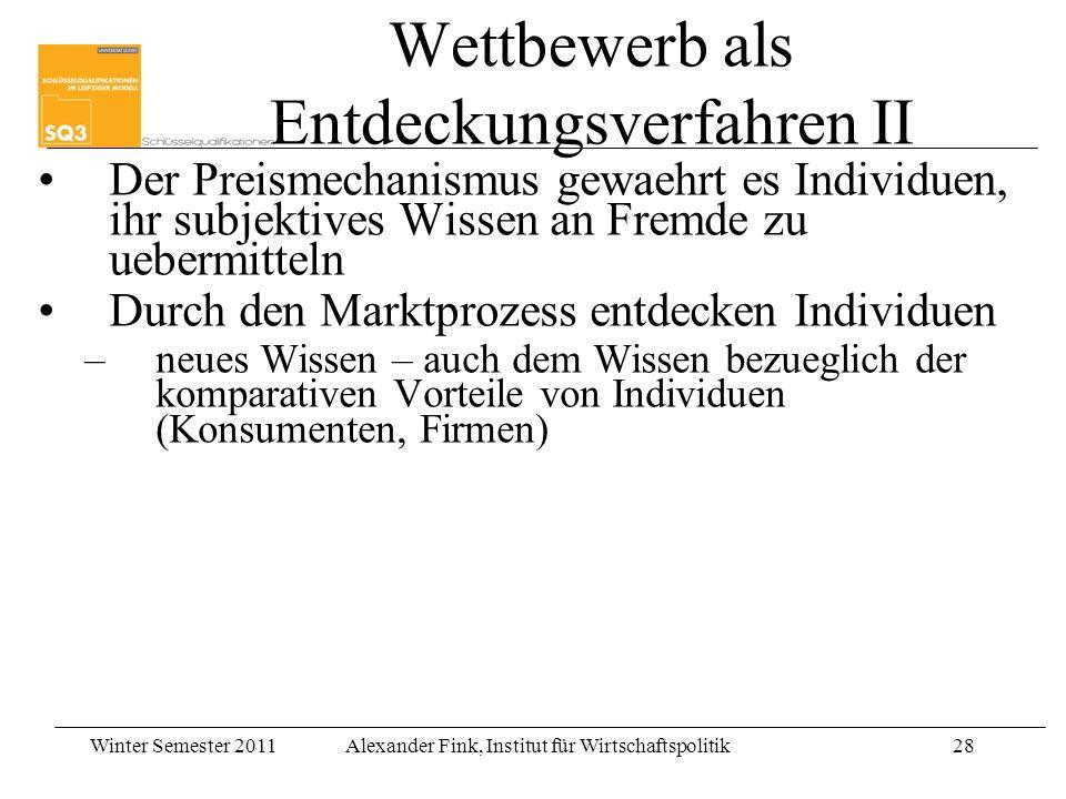 Winter Semester 2011Alexander Fink, Institut für Wirtschaftspolitik28 Wettbewerb als Entdeckungsverfahren II Der Preismechanismus gewaehrt es Individu