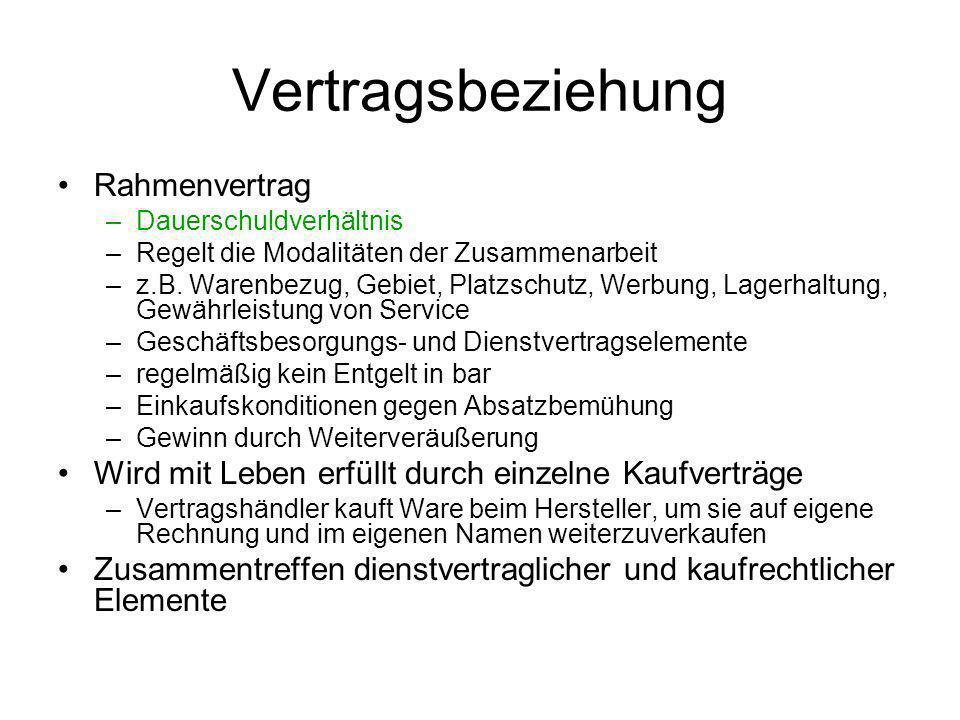 Vertragsbeziehung Rahmenvertrag –Dauerschuldverhältnis –Regelt die Modalitäten der Zusammenarbeit –z.B.