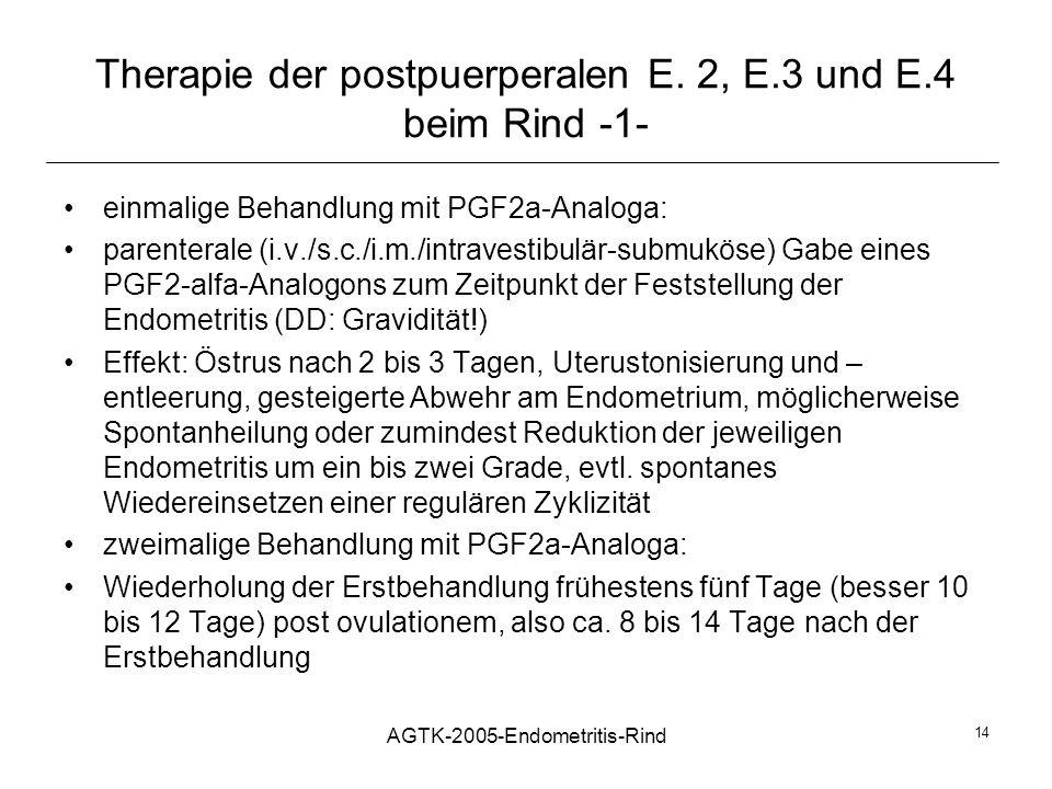 AGTK-2005-Endometritis-Rind 14 Therapie der postpuerperalen E. 2, E.3 und E.4 beim Rind -1- einmalige Behandlung mit PGF2a-Analoga: parenterale (i.v./