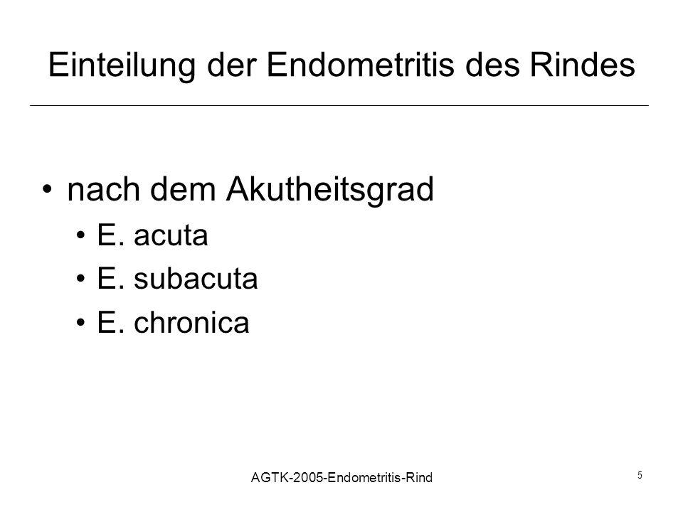 AGTK-2005-Endometritis-Rind 5 Einteilung der Endometritis des Rindes nach dem Akutheitsgrad E. acuta E. subacuta E. chronica