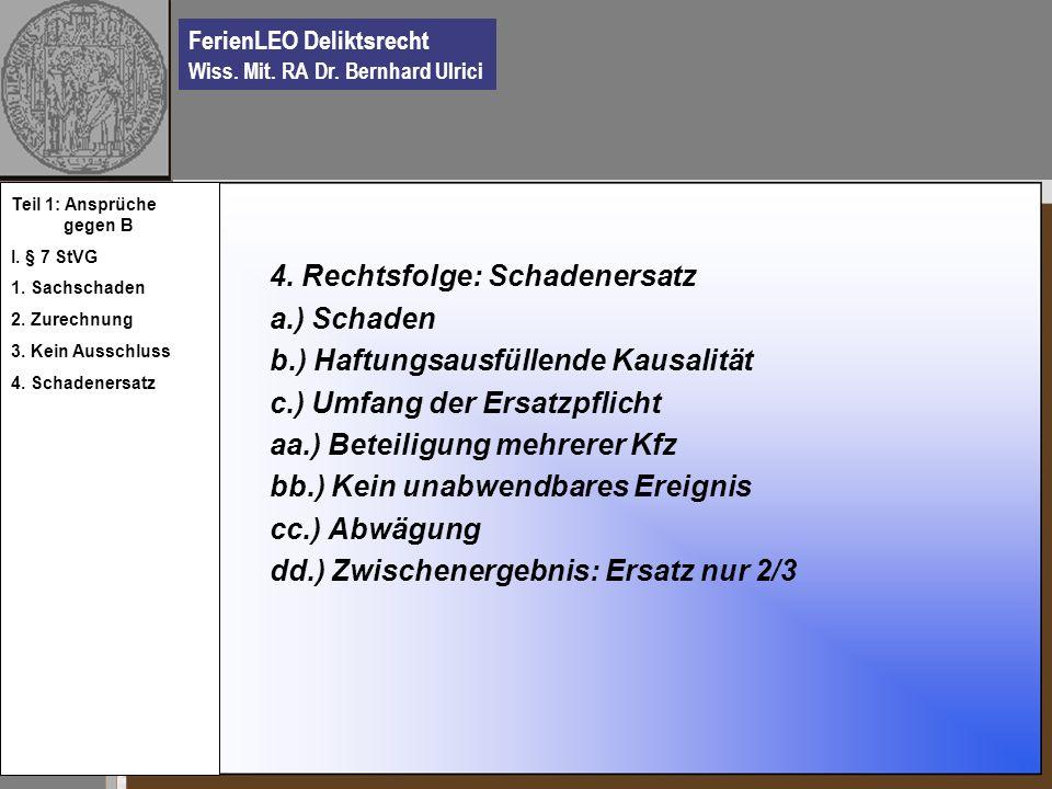 FerienLEO Deliktsrecht Wiss. Mit. RA Dr. Bernhard Ulrici 4. Rechtsfolge: Schadenersatz a.) Schaden b.) Haftungsausfüllende Kausalität c.) Umfang der E