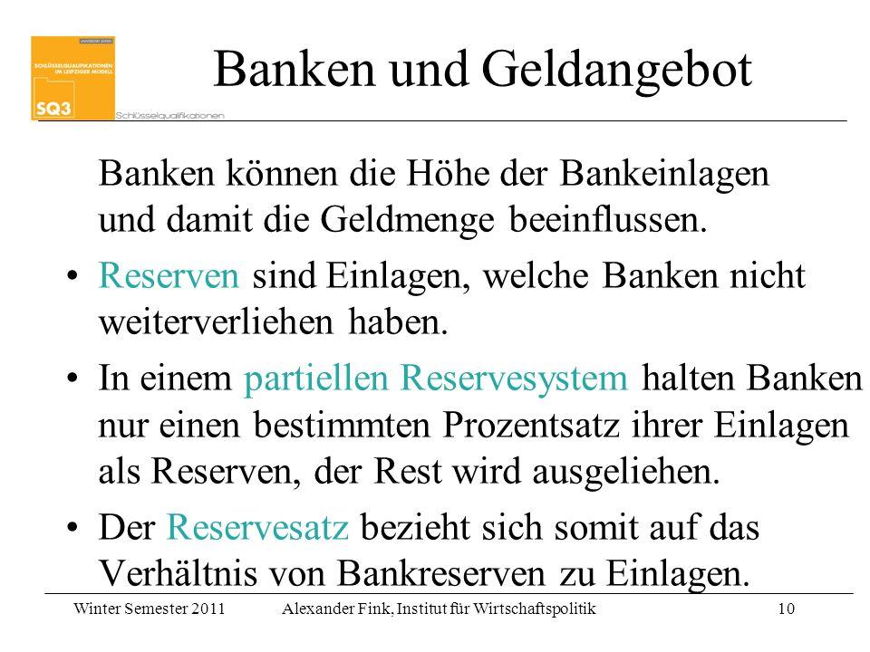 Winter Semester 2011Alexander Fink, Institut für Wirtschaftspolitik10 Banken können die Höhe der Bankeinlagen und damit die Geldmenge beeinflussen. Re