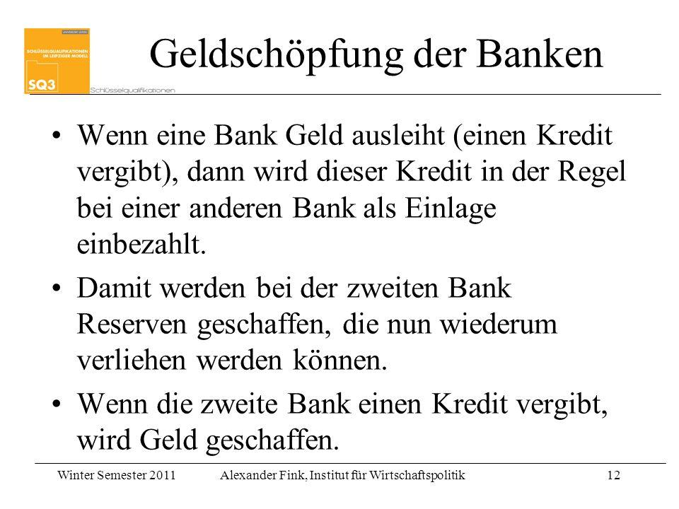 Winter Semester 2011Alexander Fink, Institut für Wirtschaftspolitik12 Wenn eine Bank Geld ausleiht (einen Kredit vergibt), dann wird dieser Kredit in