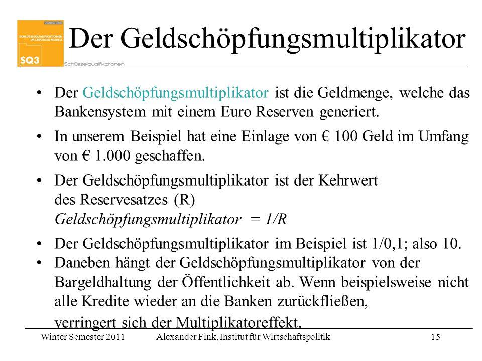 Winter Semester 2011Alexander Fink, Institut für Wirtschaftspolitik15 Der Geldschöpfungsmultiplikator ist die Geldmenge, welche das Bankensystem mit e