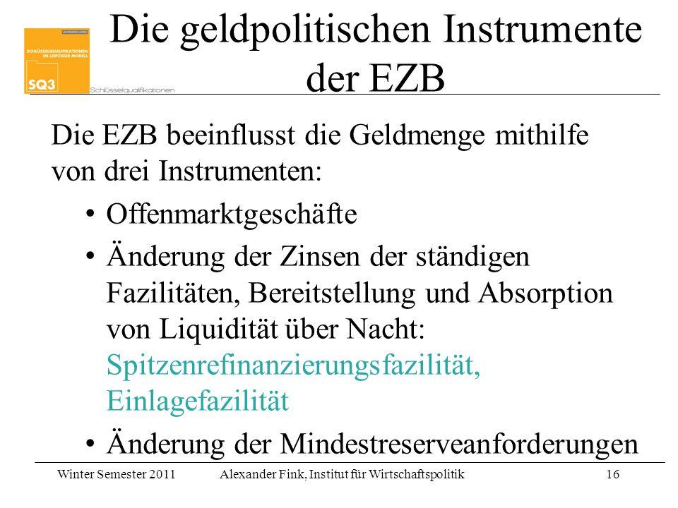 Winter Semester 2011Alexander Fink, Institut für Wirtschaftspolitik16 Die EZB beeinflusst die Geldmenge mithilfe von drei Instrumenten: Offenmarktgesc