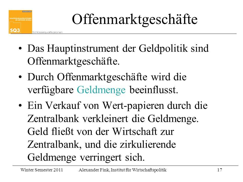 Winter Semester 2011Alexander Fink, Institut für Wirtschaftspolitik17 Das Hauptinstrument der Geldpolitik sind Offenmarktgeschäfte. Durch Offenmarktge