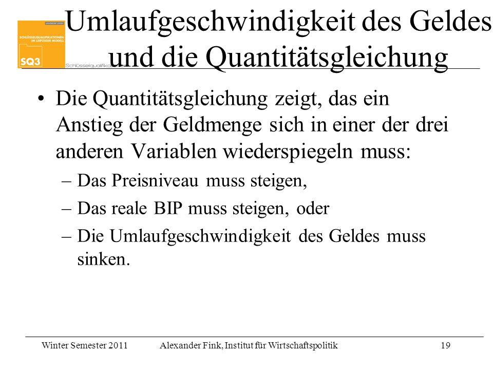 Winter Semester 2011Alexander Fink, Institut für Wirtschaftspolitik19 Die Quantitätsgleichung zeigt, das ein Anstieg der Geldmenge sich in einer der d