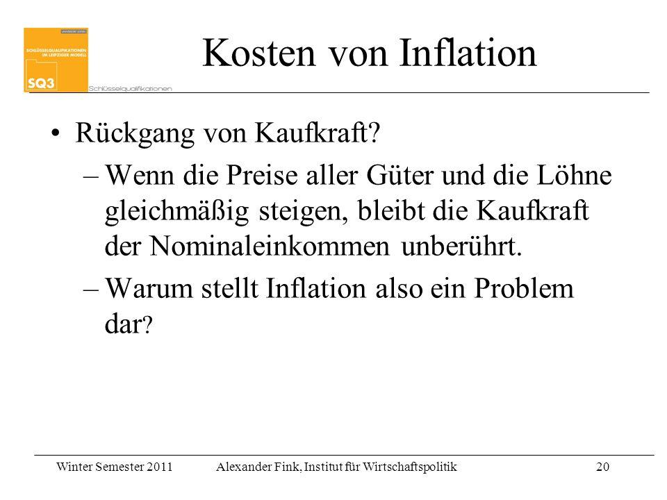 Winter Semester 2011Alexander Fink, Institut für Wirtschaftspolitik20 Rückgang von Kaufkraft? –Wenn die Preise aller Güter und die Löhne gleichmäßig s