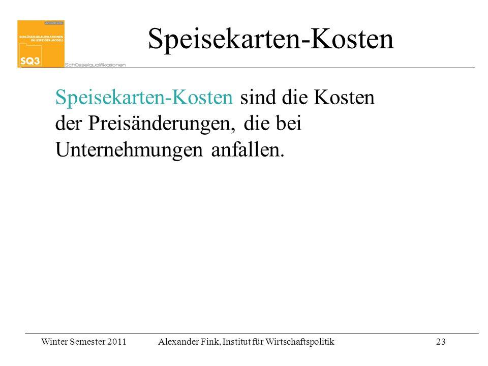 Winter Semester 2011Alexander Fink, Institut für Wirtschaftspolitik23 Speisekarten-Kosten sind die Kosten der Preisänderungen, die bei Unternehmungen