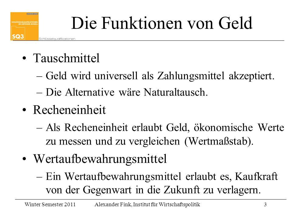 Winter Semester 2011Alexander Fink, Institut für Wirtschaftspolitik3 Tauschmittel –Geld wird universell als Zahlungsmittel akzeptiert. –Die Alternativ