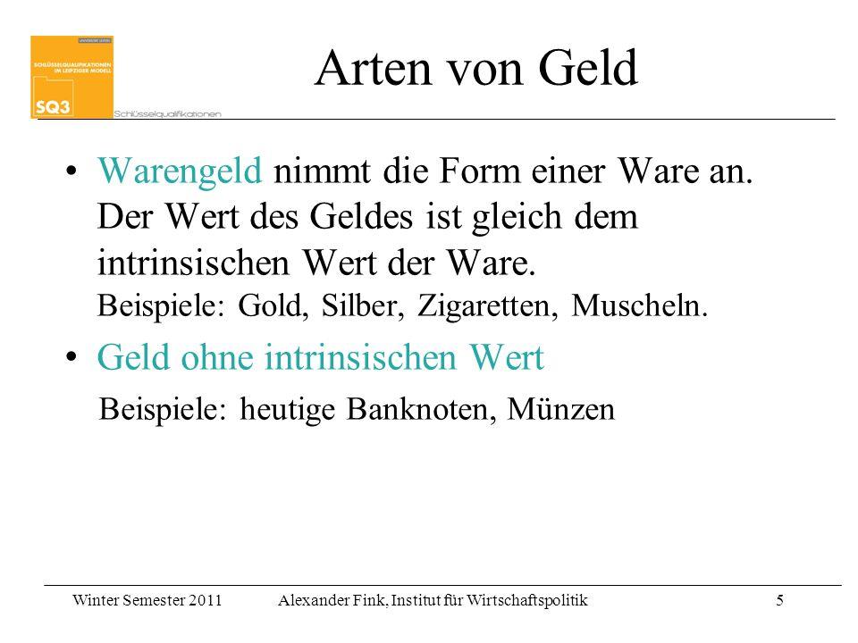 Winter Semester 2011Alexander Fink, Institut für Wirtschaftspolitik5 Warengeld nimmt die Form einer Ware an. Der Wert des Geldes ist gleich dem intrin